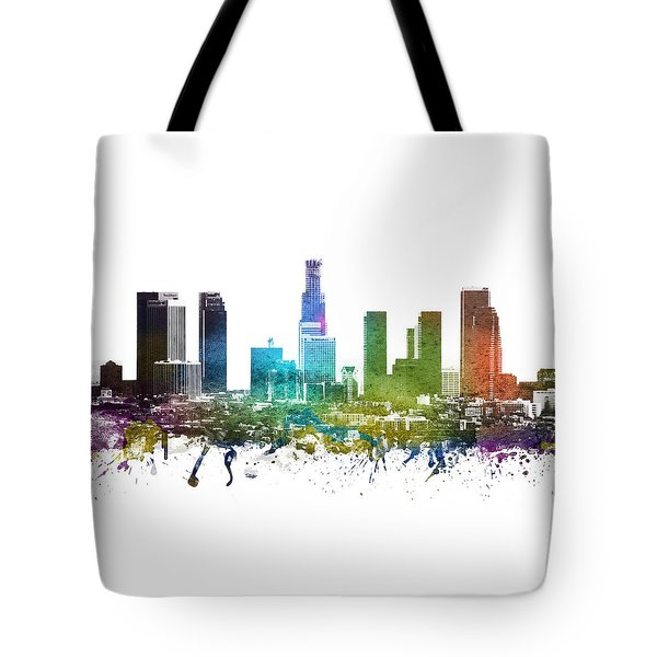Los Angeles Cityscape 01 Tote Bag by Aged Pixel