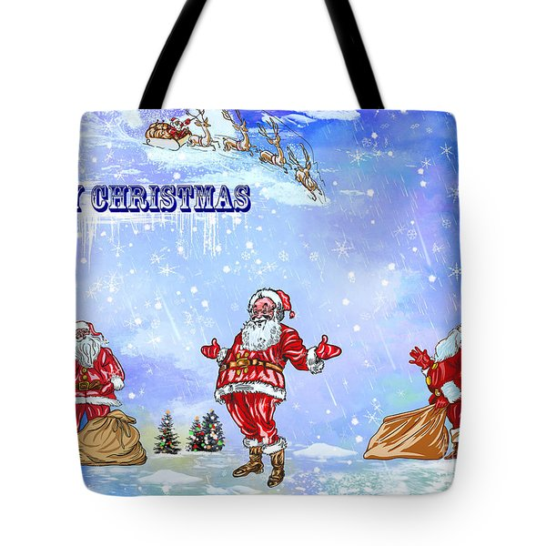 Tote Bag featuring the painting  Merry Christmas To My Friends In The Faa by Andrzej Szczerski