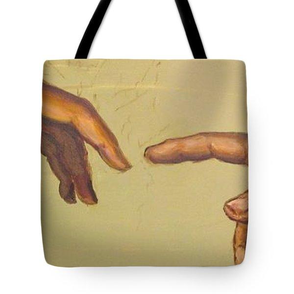 Michelangelos Creation Of Adam 1510 Tote Bag