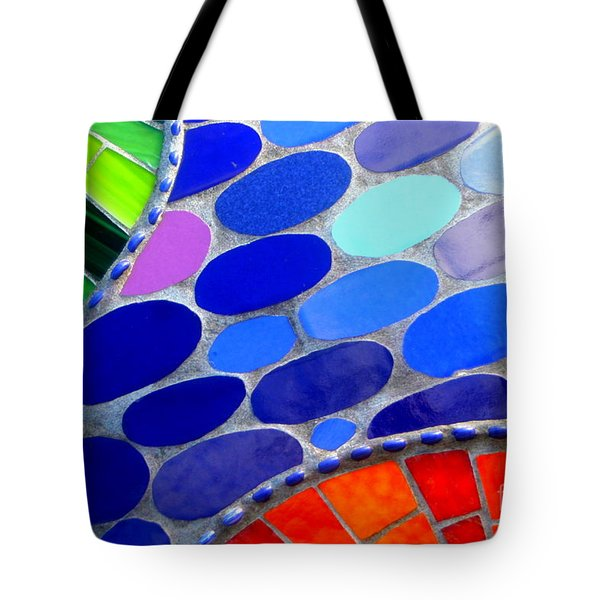 Mosaic Abstract Of The Blue Green Red Orange Stones Tote Bag