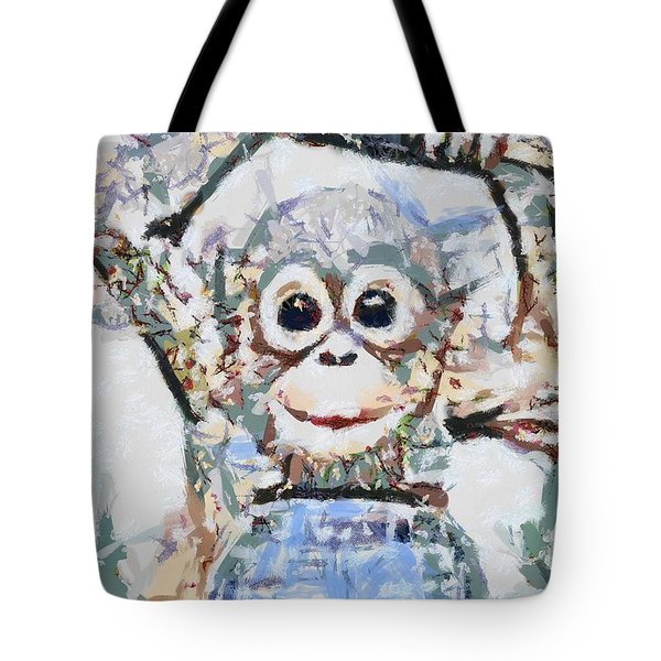 Monkey Rainbow Splattered Fragmented Blue Tote Bag