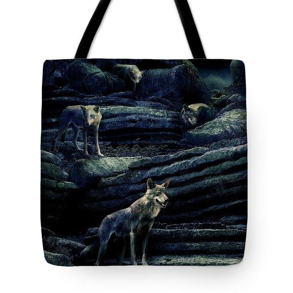 Moonlit Wolf Pack Tote Bag by Mal Bray