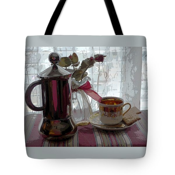 Tote Bag featuring the photograph  Morning Coffee by Margie Avellino