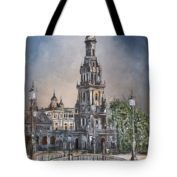 Tote Bag featuring the painting  Plaza De Espana In Seville by Andrzej Szczerski