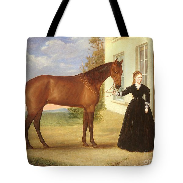 Portrait Of A Lady With Her Horse Tote Bag