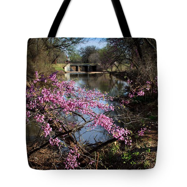 Redbuds And A Distant Bridge Tote Bag