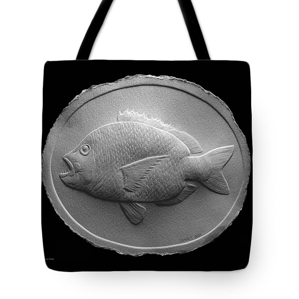 Tote Bag featuring the relief  Relief Saltwater Fish Drawing by Suhas Tavkar