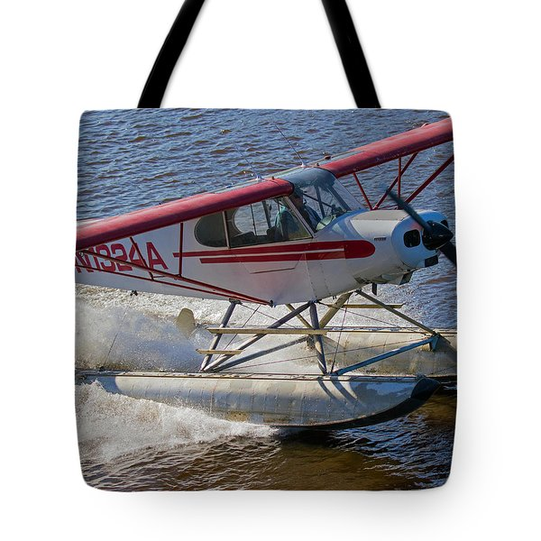 River Take Off In Fairbanks Tote Bag by Allan Levin