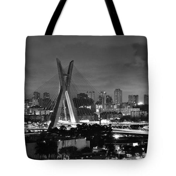 Sao Paulo Iconic Skyline - Cable-stayed Bridge - Ponte Estaiada Tote Bag