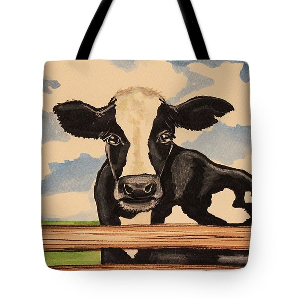 Say Hello To Patty The Cow Tote Bag by Elizabeth Robinette Tyndall