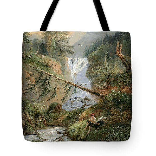 Shepherd Resting By The Waterfall Tote Bag