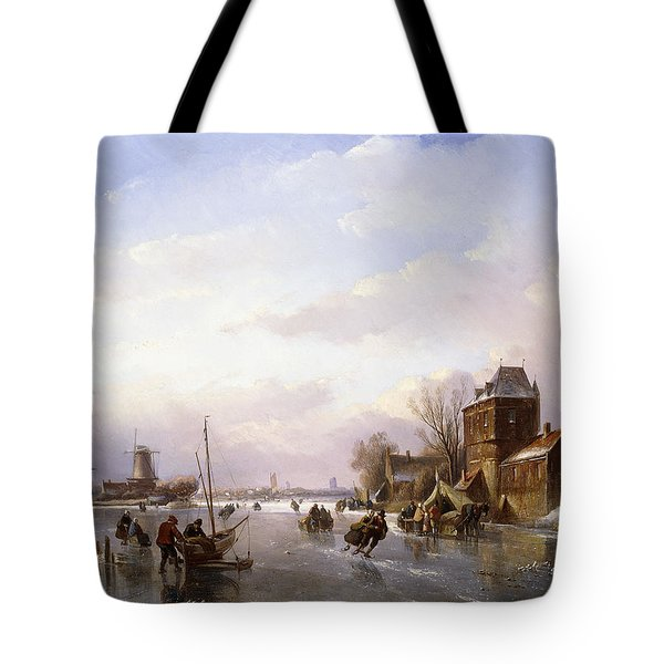 Skaters In A Frozen Landscape Tote Bag
