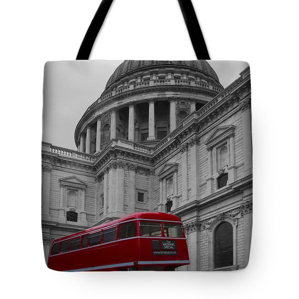 St Pauls Cathedral Red Bus Tote Bag