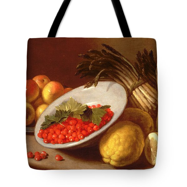 Still Life Of Raspberries Lemons And Asparagus  Tote Bag by Italian School