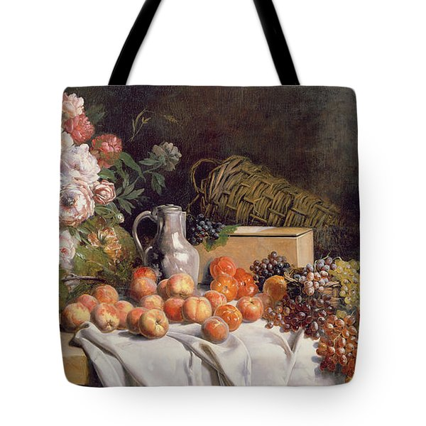 Still Life With Flowers And Fruit On A Table Tote Bag by Alfred Petit