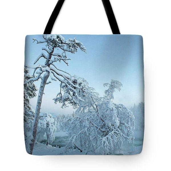 Magic Blue  Storforsen Waterfall  Tote Bag