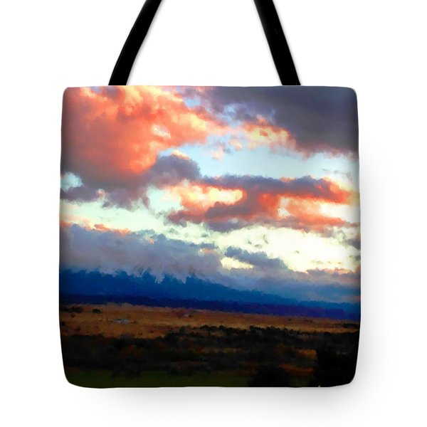 Tote Bag featuring the photograph  Sunset Clouds Over Spanish Peaks by Anastasia Savage Ealy