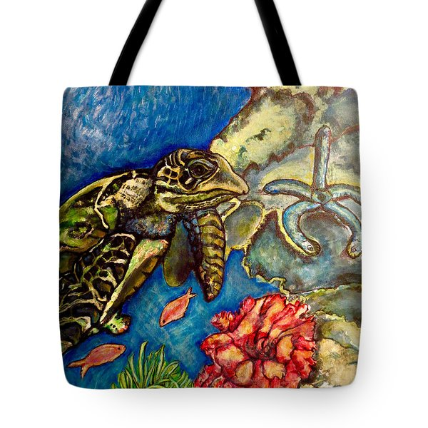 Tote Bag featuring the painting  Sweet Mystery Of The Sea A Hawksbill Sea Turtle Coasting In The Coral Reefs Original by Kimberlee Baxter