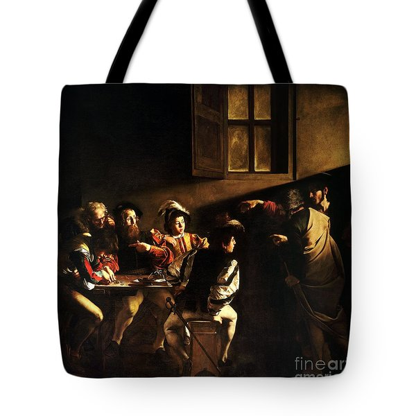 Tote Bag featuring the painting  The Calling Of Saint Matthew by Caravaggio