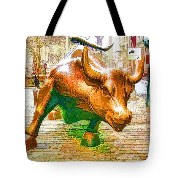 The Landmark Charging Bull In Lower Manhattan  Tote Bag