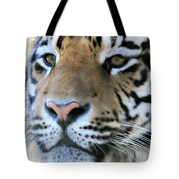 Tote Bag featuring the photograph  Tiger Portrait  by Mindy Bench
