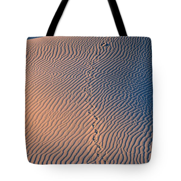Tracks At First Light In Death Valley Tote Bag by Sandra Bronstein