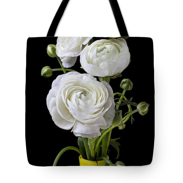 White Ranunculus In Yellow Vase Tote Bag by Garry Gay