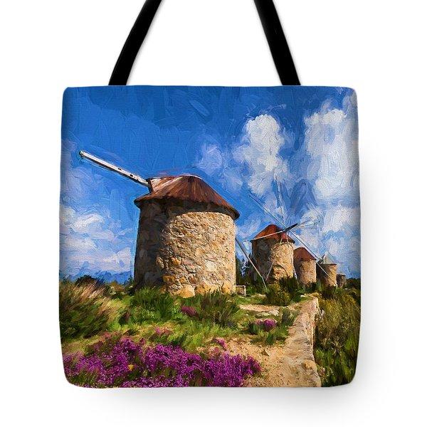 Windmills Of Portugal Tote Bag