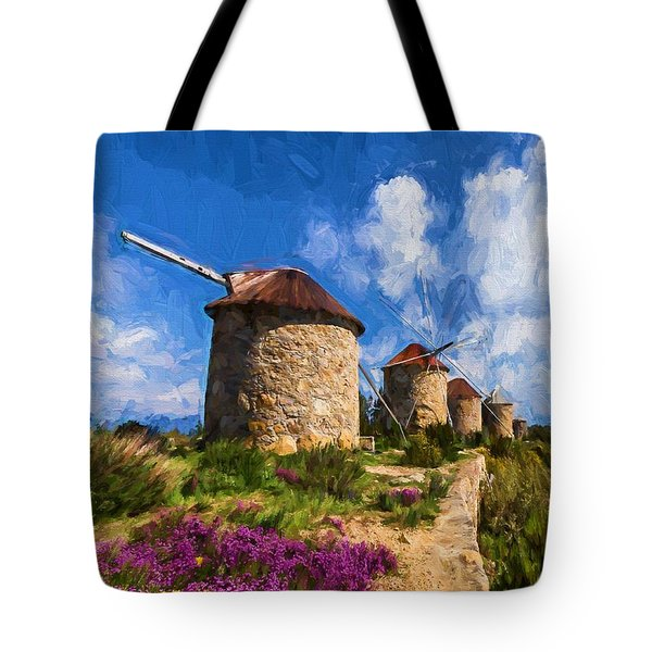 Windmills Of Portugal Tote Bag