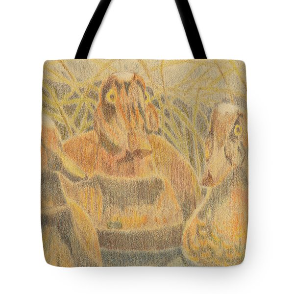 Tote Bag featuring the drawing  Wooden Duck Decoys by Jason Girard