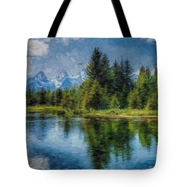 Wyoming Tetons Spruce Mountain Lake. Oil Painting . Tote Bag by Heinz G Mielke