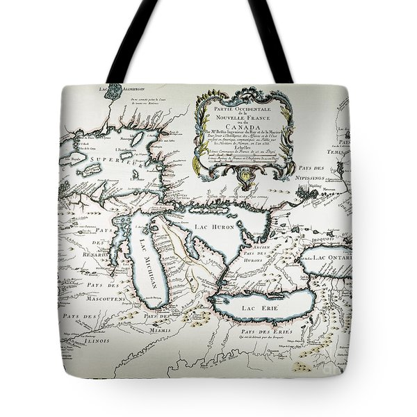 Great Lakes Map, 1755 Tote Bag by Granger