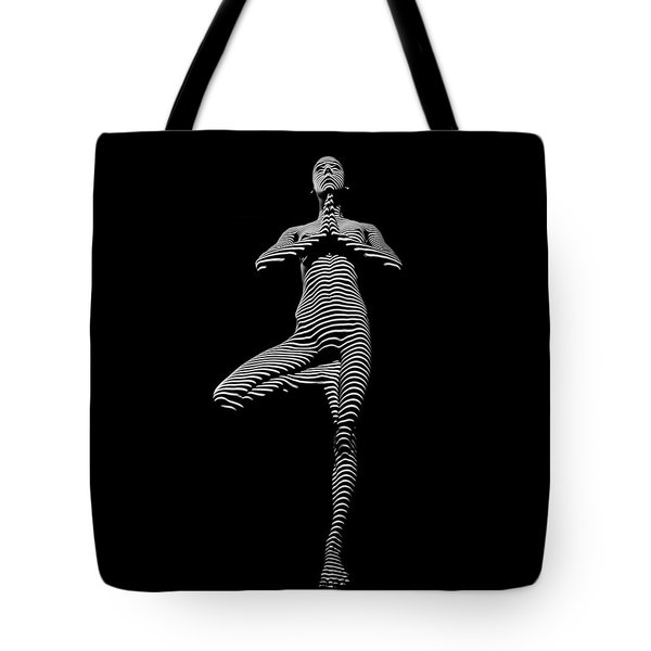 0027-dja Yoga Balance Black White Zebra Stripe Photograph By Chris Maher Tote Bag