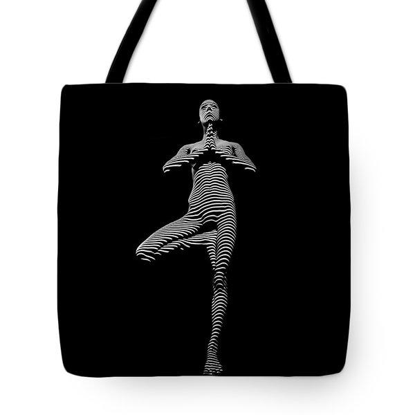 0027-dja Yoga Balance Black White Zebra Stripe Photograph By Chris Maher Tote Bag