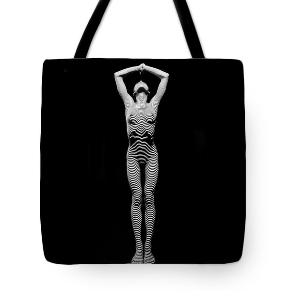 0029-dja Light Above Illuminates Zebra Striped Woman Slim Body Black And White Fine Art Chris Maher Tote Bag