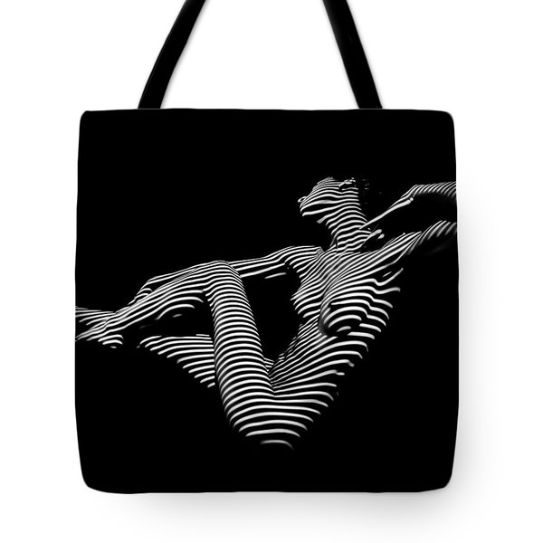 0043-dja Bw Zebra Woman Striped Girl Topographic Abstract Sensual Body Art Tote Bag