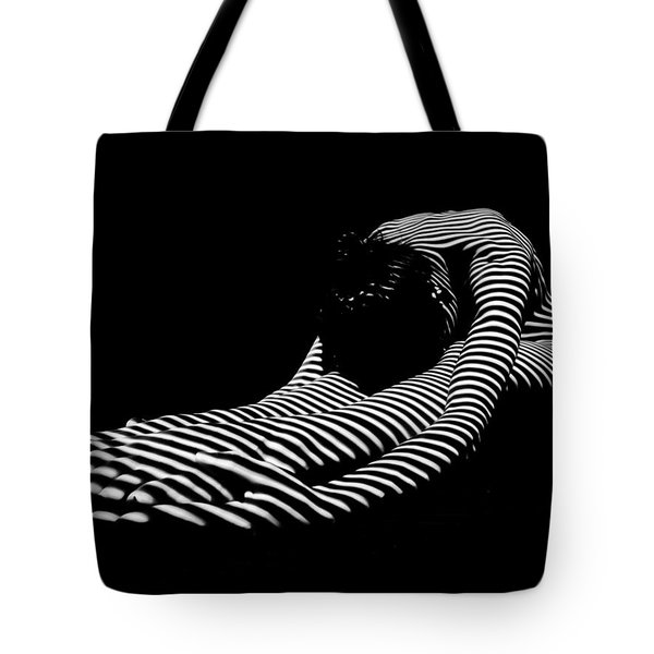 0086-dja Feet First Zebra Woman Striped Black White  Tote Bag