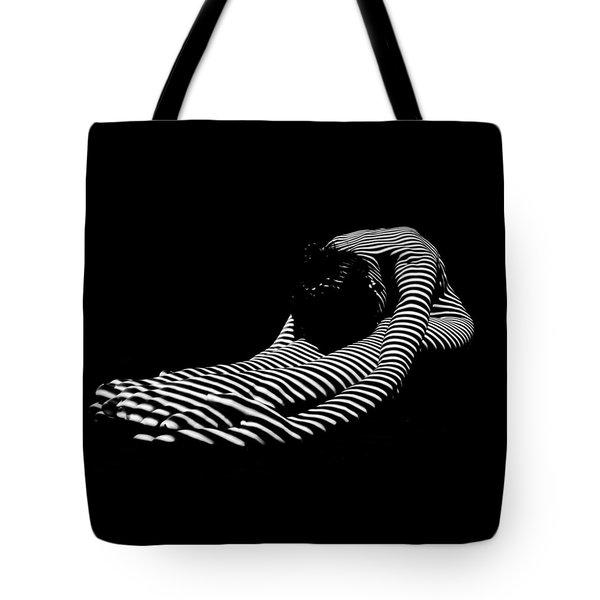 0086-dja Feet First Zebra Woman Striped Black White  Tote Bag