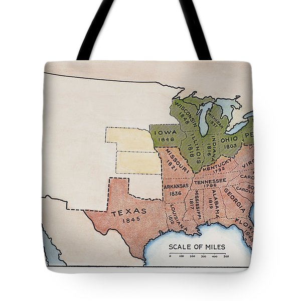 United States Map, 1854 Tote Bag by Granger