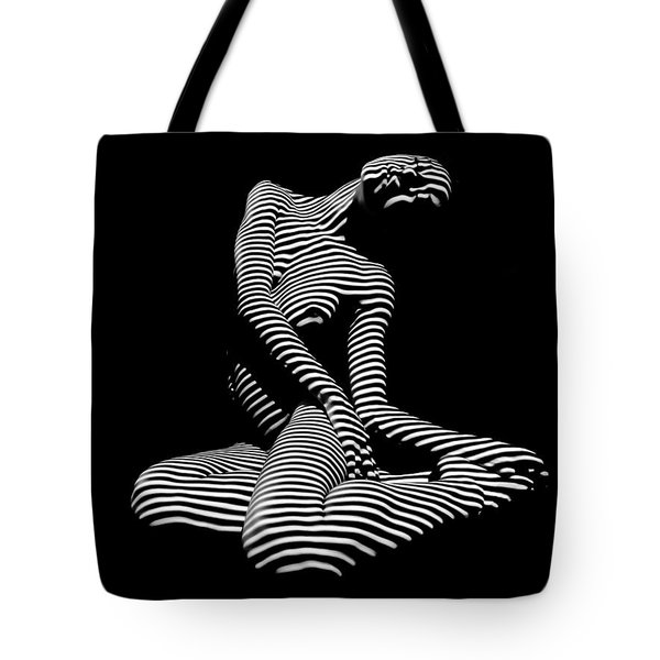 0111-dja Languid Seated Zebra Woman Black White Striped Abstract Photograph Tote Bag