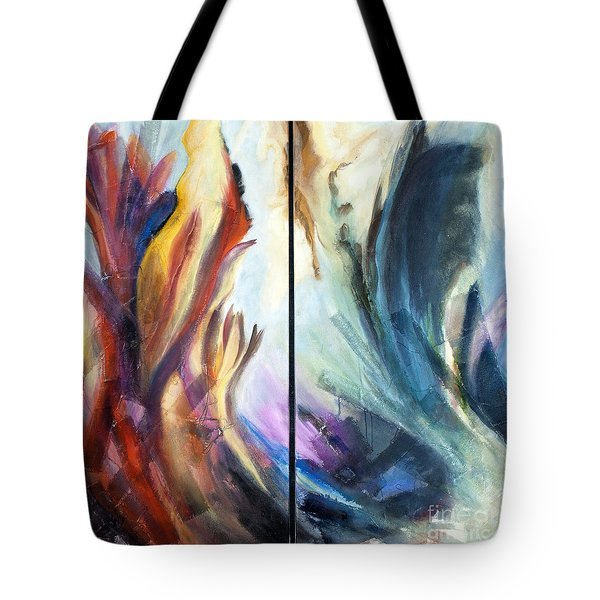 01321 Fire And Waves Tote Bag by AnneKarin Glass