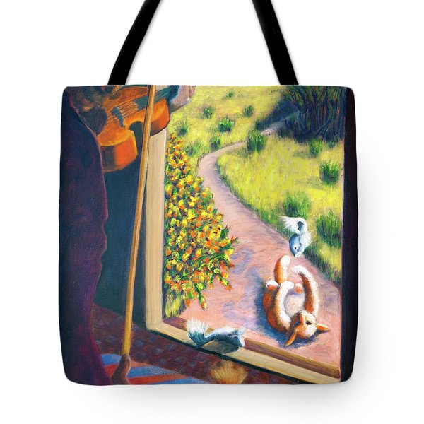 01349 The Cat And The Fiddle Tote Bag by AnneKarin Glass