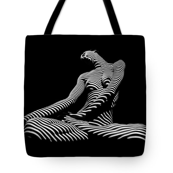 0174-dja Lotus Zebra Woman Sensual Feminine Black And White Figure Study Tote Bag
