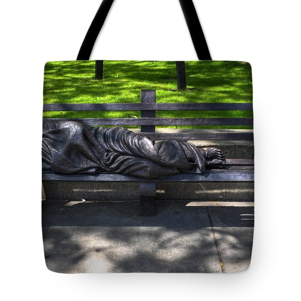 02 Homeless Jesus By Timothy P Schmalz Tote Bag