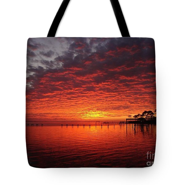 0205 Awesome Sunset Colors On Santa Rosa Sound Tote Bag by Jeff at JSJ Photography