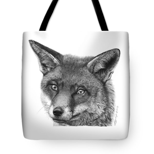 Tote Bag featuring the drawing 044 Vixie The Fox by Abbey Noelle