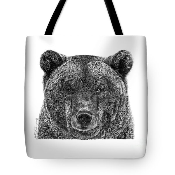 Tote Bag featuring the drawing 045 Papa Bear by Abbey Noelle