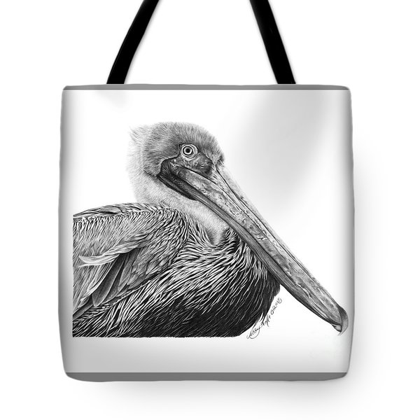 Tote Bag featuring the drawing 047 - Sinbad The Pelican by Abbey Noelle