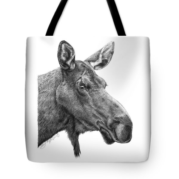 Tote Bag featuring the drawing 048 - Shelly The Moose by Abbey Noelle