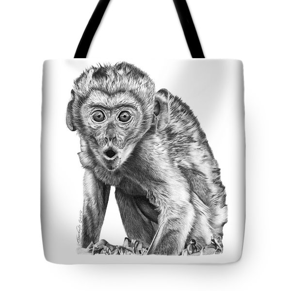 Tote Bag featuring the drawing 057 Madhula The Monkey by Abbey Noelle